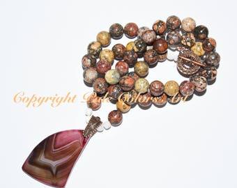 "25"" Leopardskin Jasper Stone Bead Necklace, Neutral Necklace, Jasper Stone Necklace, 25 Inch Necklace, Lilac Lace Agate Pendant Necklace"