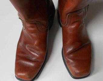 Landis Cowboy Leather Boots Honey Brown Biltrite soles/Leather Boots/Stylish Cowboy Leather boots/Size 9