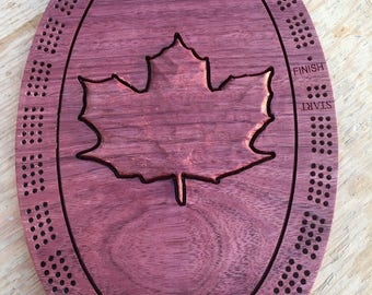 Maple Leaf Cribbage Board