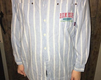 1990 Vintage 90s B.U.M. Equipment Blue / White Strip Button shirt BUM Men XL