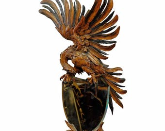 antique carved wood eagle mirror