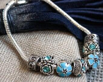 Pandora bracelet. Pandora bracelet style. Blue.