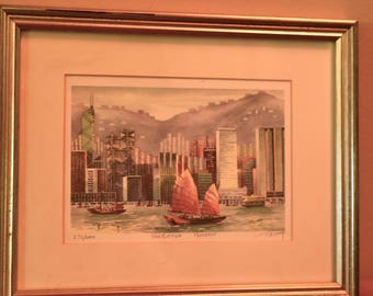 Tik Lung Numbered and Signed Etching of Victoria Harbor in Hong Kong