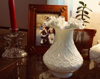 Fenton Milk Glass Silver Crest Vase Spanish lace
