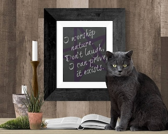 Witchcraft Poster, Witchy Wall Art, Downloadable Print, Wicca Printable Gift Art, I Worship Nature Black and Purple Pentagram Wicca Wall Art