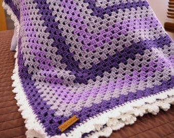 Crochet Blanket, Granny Rectangle, Throw, Afghan, Lapghan, Size 86cm x 117cm, Lap Blanket, Baby Blanket, Gifts, Handmade, Soft