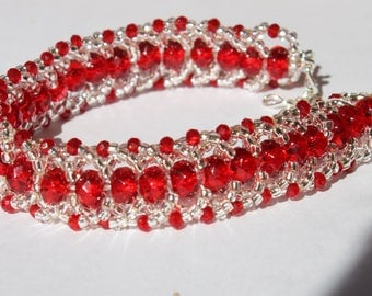 Red Beaded Bracelet with silver seed beads