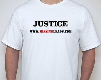 "Men's White T-Shirt with ""JUSTICE"" imprint."