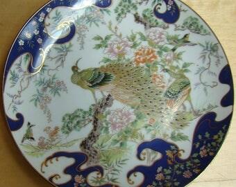 Imaribord porcelain dish with peacocks, very nice