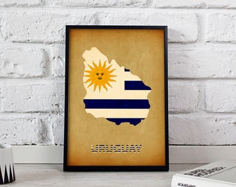 Uruguay art Country Map poster Uruguay poster wall art wall decor print