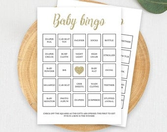 Baby Bingo Cards Gold Glitter Baby Shower Games Printable Baby Shower Bingo Cards Baby Shower Bingo Printable Baby Shower Printable Game GCO
