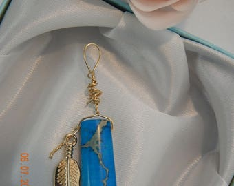 Blue Agate Pendant with Gold leaf charm