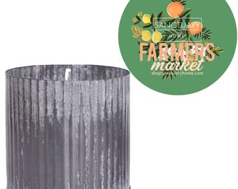Farmers Market Soy Candle in Galvanized Zinc Pot