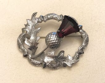 Vintage Mizpah Silver Tone Scottish Thistle with Purple Glass Stone Brooch