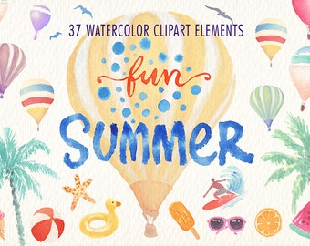Summer time. Watercolor clipart set