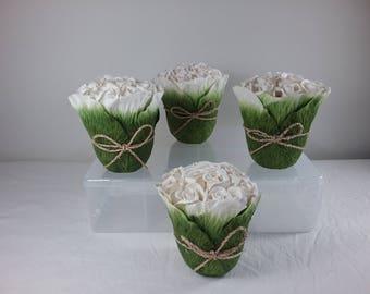 Pretty White Paper Rose Table Arrangements | decorations | wedding flowers