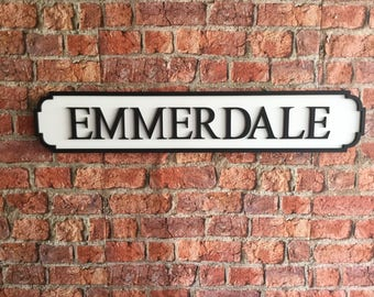 EMMERDALE vintage wooden street road sign
