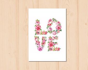 Love Letter Flower Watercolour Painting Drawing Art Print N158