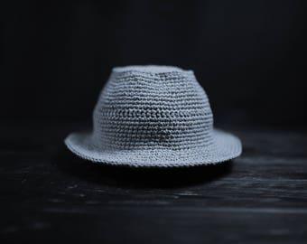 Ash grey hat cotton hat crochet handmade summer hat