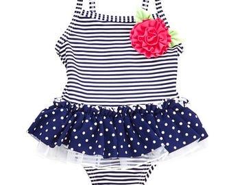 Baby Girls Stripe & Polka Dot Swimsuit (6-24m)