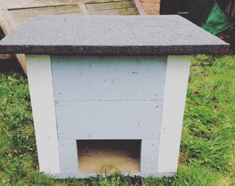 Handmade wooden tortoise or hedgehog houses, which look lovely in the garden.  Available in any pastel colour!
