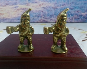 Chedda Cheese Gnome, Brass chedda cheese, Brass people figurines, pair of ornaments, vintage figurine