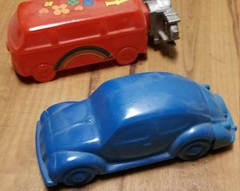 2 Vintage VW AVON Aftershave Cologne Bottles (1) Beetle (1) Bus