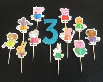 12 Pcs. Peppa Pig Cupcake Toppers, Peppa Pig Birthday Party, Peppa Pig Decorations, Peppa Pig Toppers