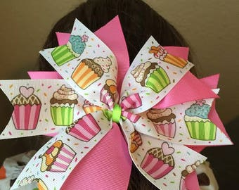 Large 6in Pink Cupcake Hair Bow