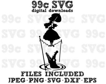 Haunted Mansion Tightrope Girl Disney SVG DXF Png Vector Cut File Cricut Design Silhouette Cameo Vinyl Decal Stencil Template Heat Transfer