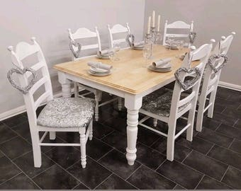 Exquisite Shabby chic dining table and chairs 6ft by 3 ft