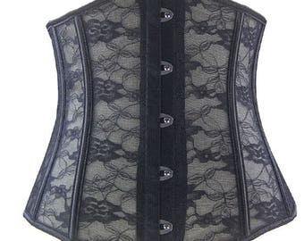 LAST CHANCE CLEARANCE!!!! Underbust Waist Trainer Corset - Lace Waist Trainer - Victorian Corset - Pirate Costume - Affordable Corset