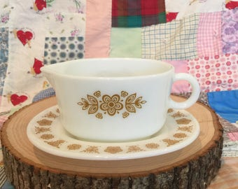 Vintage PYREX Butterfly Gold Pattern Gravy Boat with Under plate