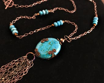 Turquoise colored Howlite Pendant Necklace - FREE SHIPPING!