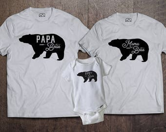 Mama, Papa, Baby Bear - (Listing for 3 Shirts)