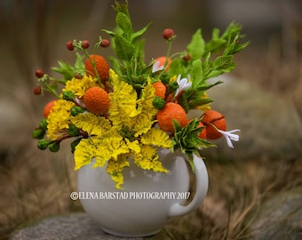 Handmade spring bouquet, flowers, clementines, clay art, art flowers, deco clay, polymer clay, decoration, decor, yellow