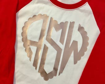 Youth Scalloped Heart Monogram Valentines raglan tee shirt choose your color FREE SHIPPING Rose Gold monogram