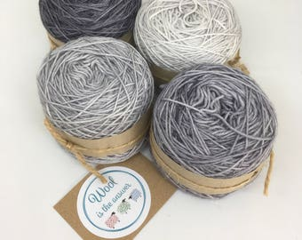 Hand Dyed 4 ply Superwash Merino -Gradient set Grey