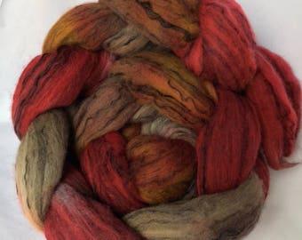 "hand dyed roving, spinning fiber, Merino black tencel, ""Crushed Red Pepper"""