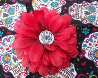 Sugar Skull Red Flower hair clip