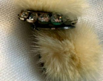 Vintage White Mink Fur Earrings with rhinestones Clip ON