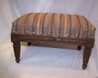 Foot Stool, Fine Fabric, Walnut, Carved, Antique