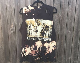 Little Big Town, LARGE, bleached, grunge, country, distressed shirt, tank