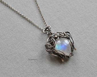 Birthday Gift/Anniversary Gift/ High quality Rainbow Moonstone Pendant Necklace /Oxidized Sterling Silver/ Handmade /Unique /Free Shipping