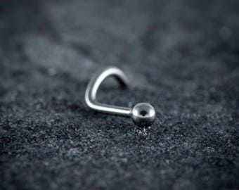 1mm (18g) 316L Surgical Steel Curved Nose Stud With Ball