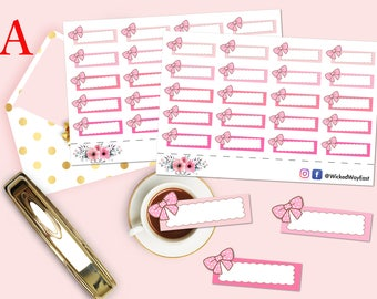 Bow Quarter Box Planner Sticker, Pink Bows Box Stickers, Label Sticker, Planning Sticker, Scrapbook Sticker, Planner Accessory - 20 Stickers