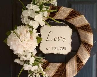 Personalized wedding wreath