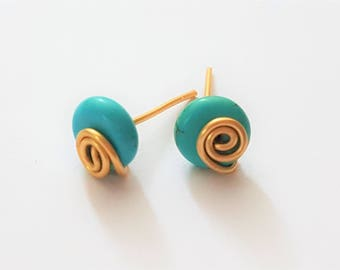 Wire wrapping earring, Turquoise wire wrapping earring