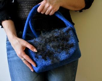 Eco bags Felted purses Crossbody bags for women small Felt women accessory Wool felt bag Crossbody blue purse Blue felted purse Trending now