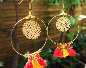 Pom Pom earrings mustard yellow and red and charms